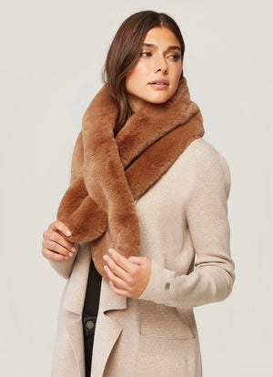soia and kyo Taliana faux fur pull through scarf camel