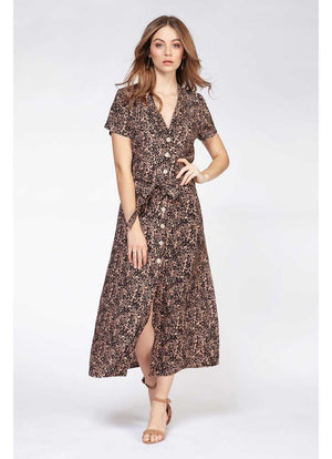 Dex - Button Front Maxi Dress Leopard