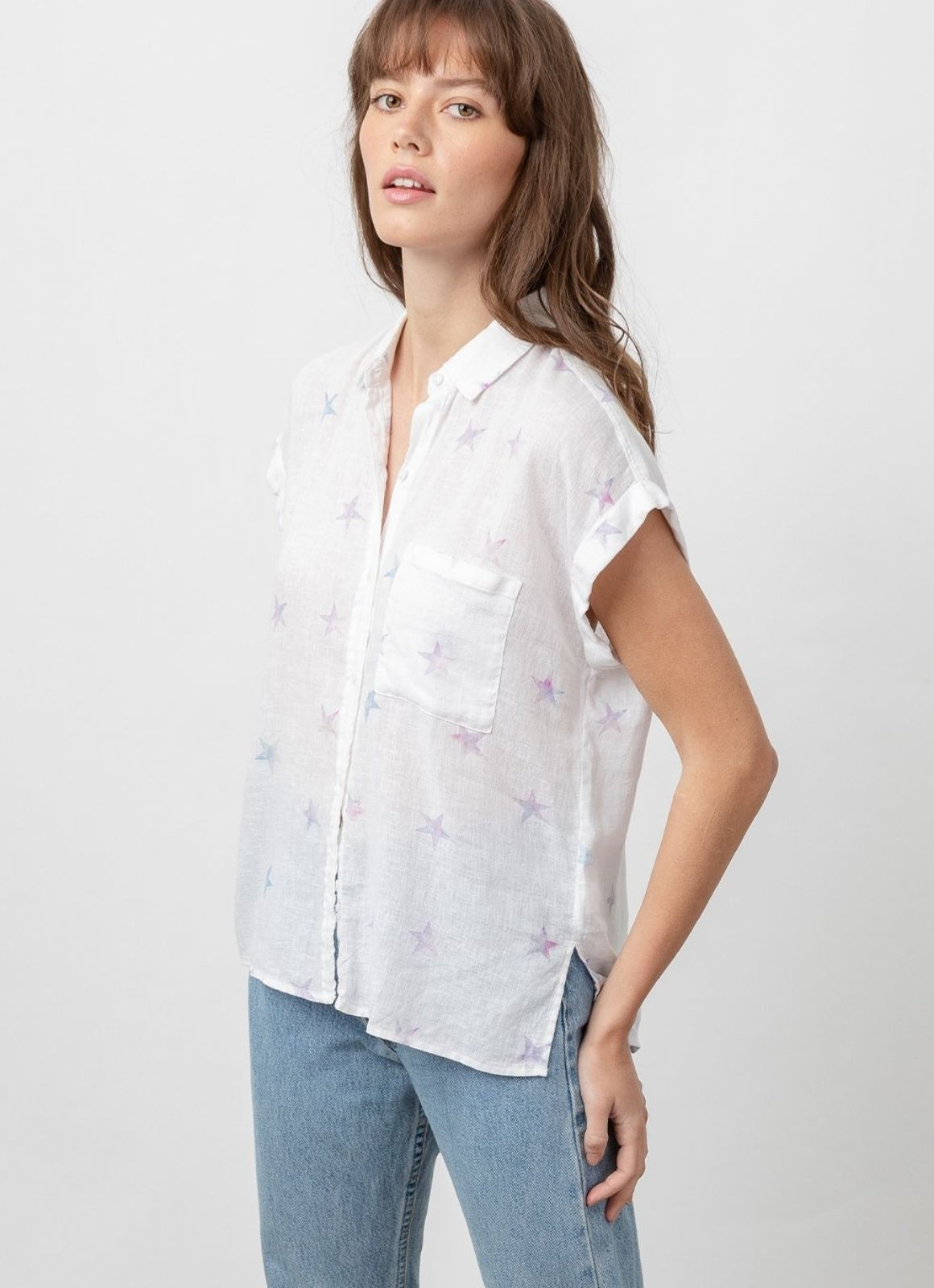 Rails - Whitney Short Sleeve Button Down  Tie Dye Stars