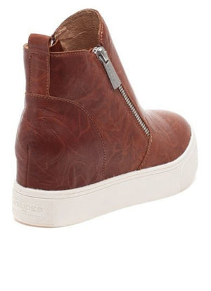 J/SLIDES SKY Cognac Distressed Leather