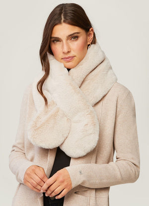 soia and kyo Taliana faux fur pull through scarf sandstone