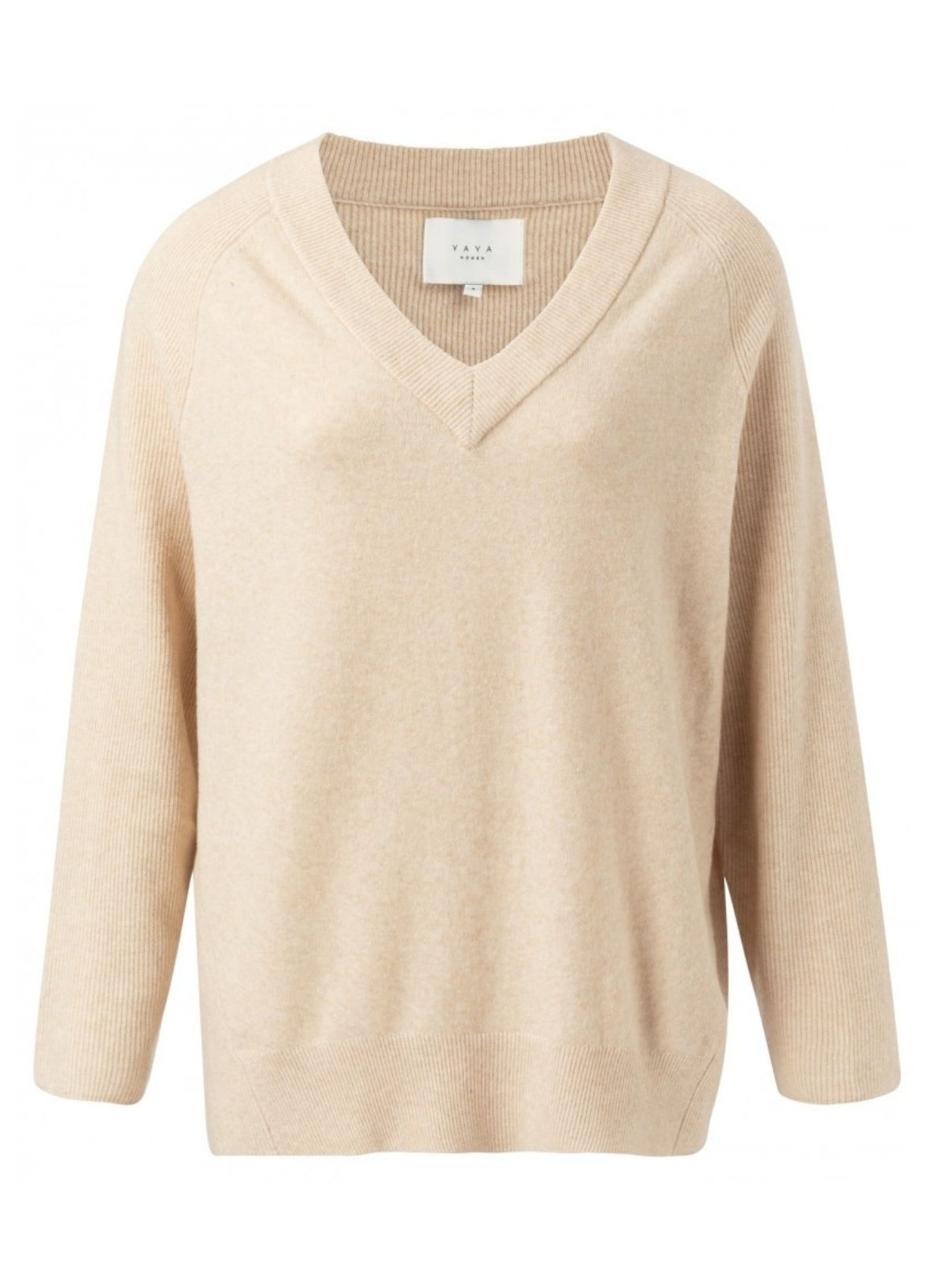 YAYA - Ribbed V Neck Sweater