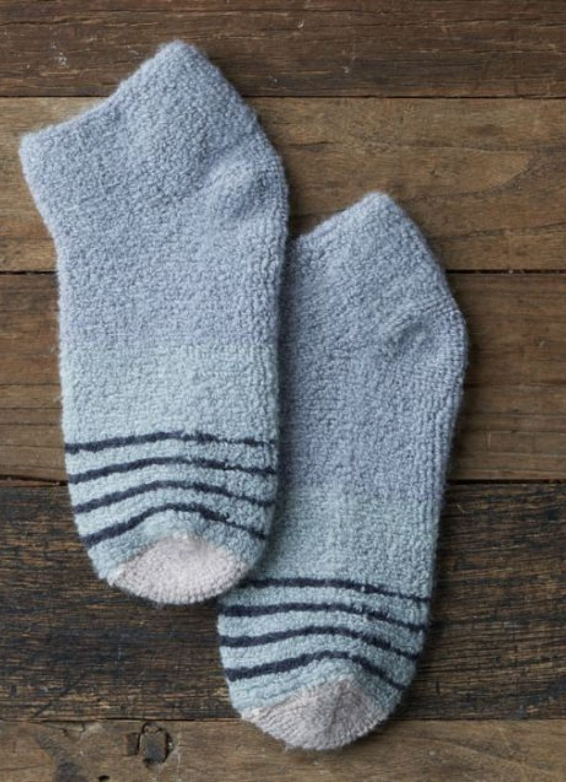 Stripey Bed Sock- Terry Quarter Crew Sock - Blue Grey