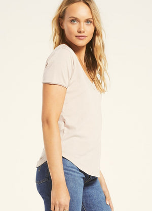Z Supply - Organic Cotton V Neck Tee Ash Pink