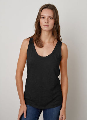 Velvet - Joy Slub Scoop Neck Tank Black