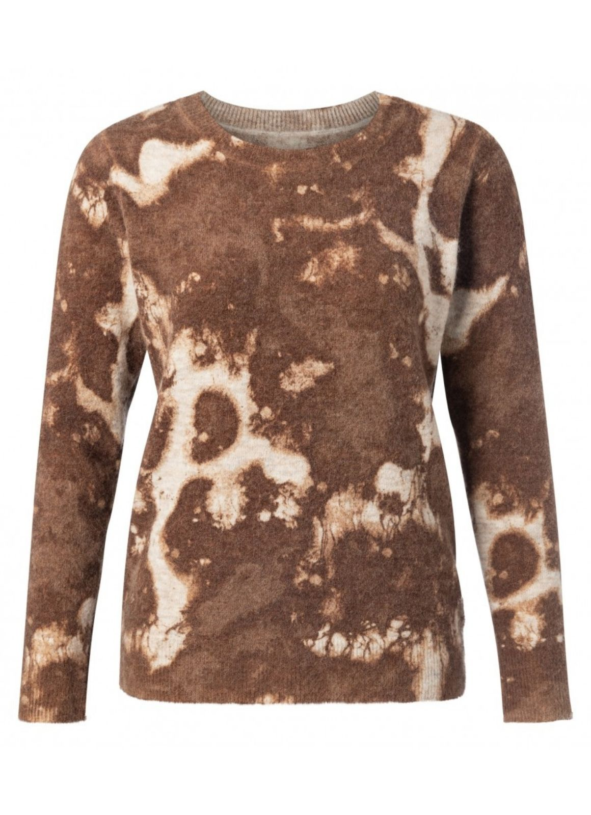 YAYA - Alpaca Blend Round Neck Sweater Inside Out Beige Melange
