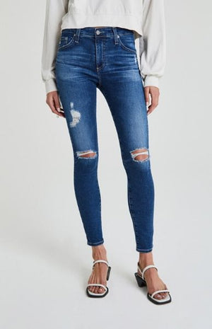 AG JEANS FARRAH SKINNY ANKLE 8 YEARS PARALLEL DESTRUCTED