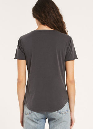 Z Supply - Organic Cotton V Neck Tee Washed Grey