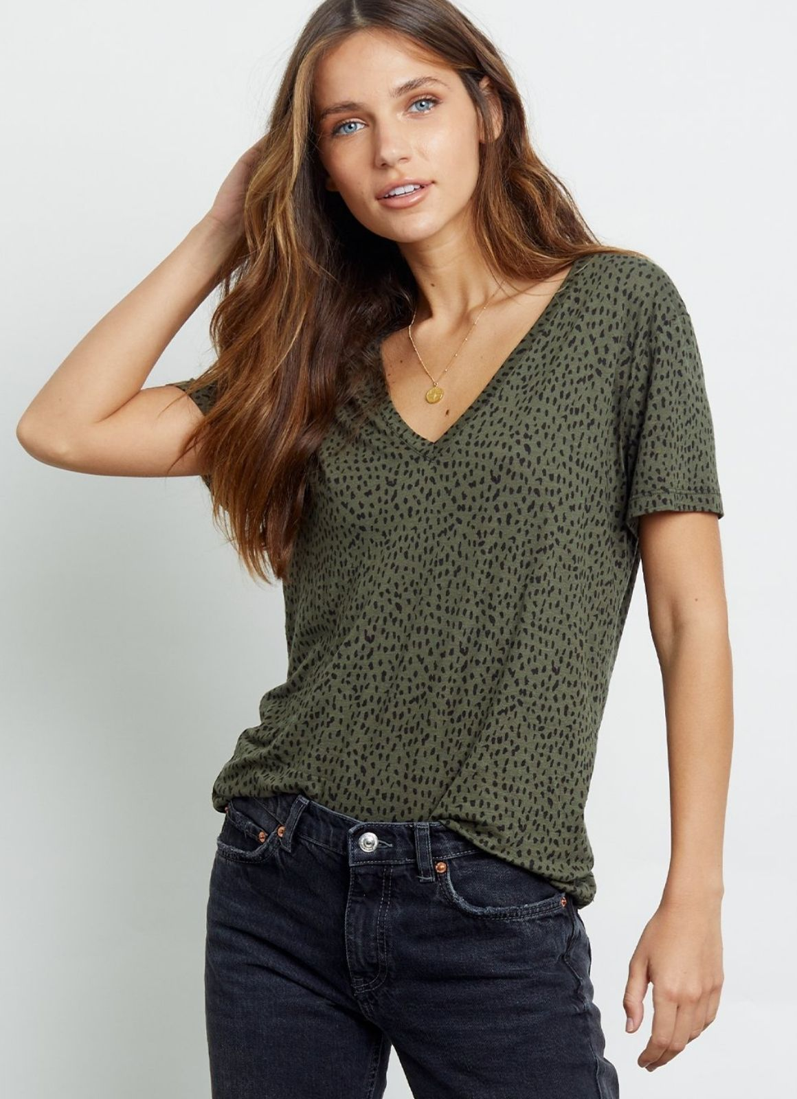 RAILS CARA OLIVE MINI SPOTTED TEE