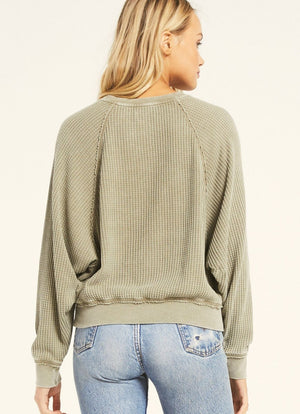 z supply claire waffle long sleeve washed olive