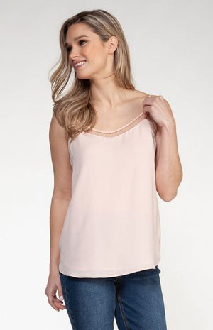 Dex Pink Mesh Trim Tank Top
