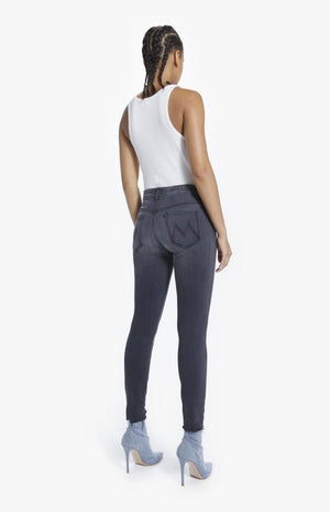 Mother Denim High Waist Looker Ankle Fray Jean Lighting Up Lanters Grey