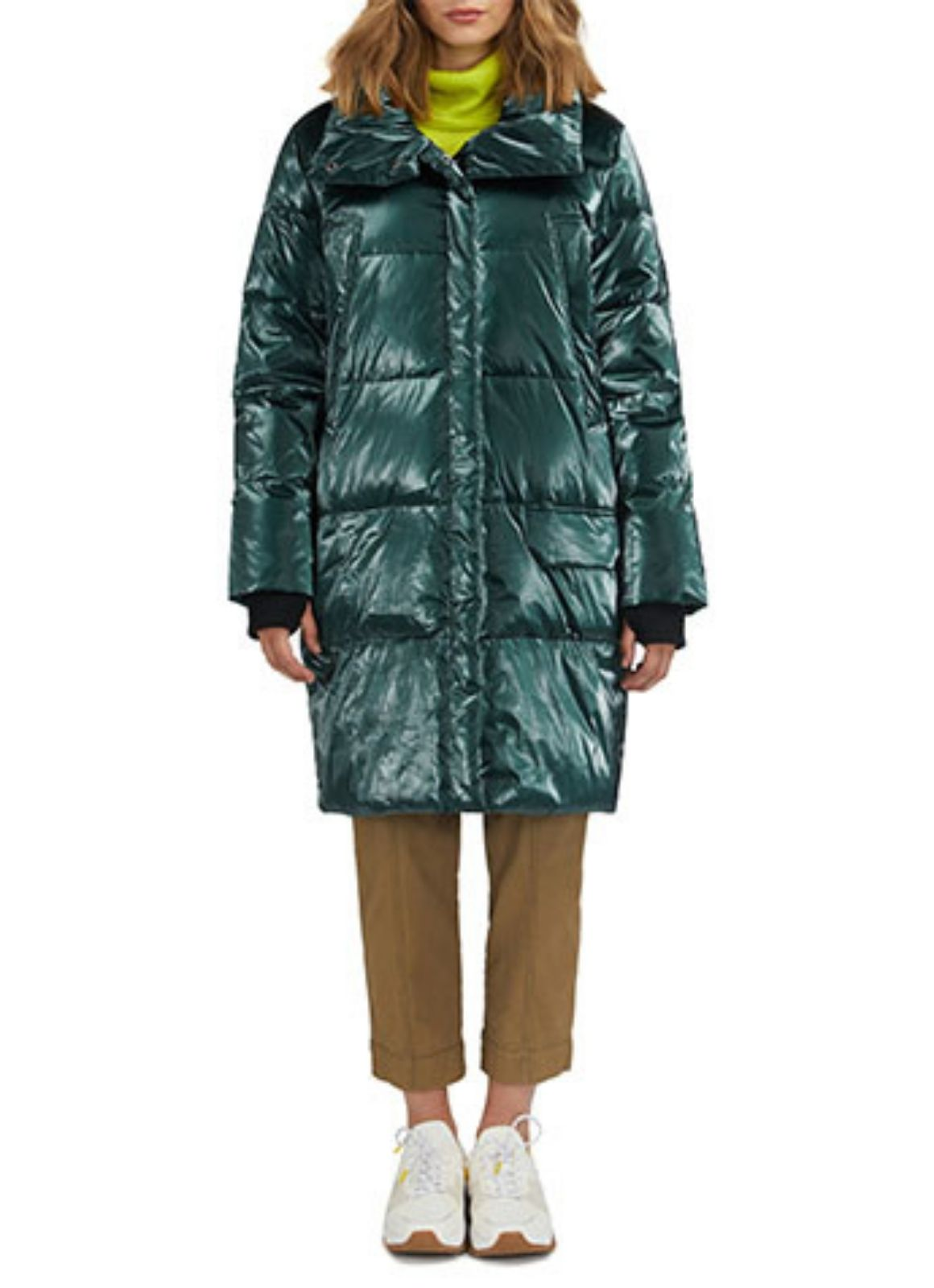 NVLT - Shiny Crinkle Down Mix Coat Forest Green