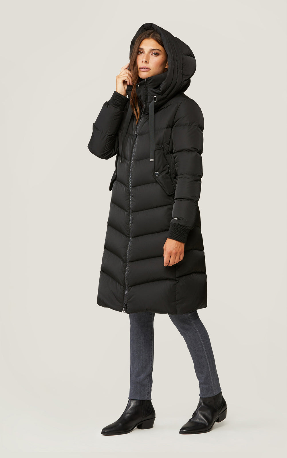 Soia & Kyo Rachela Knee Length Sporty Down Coat Black