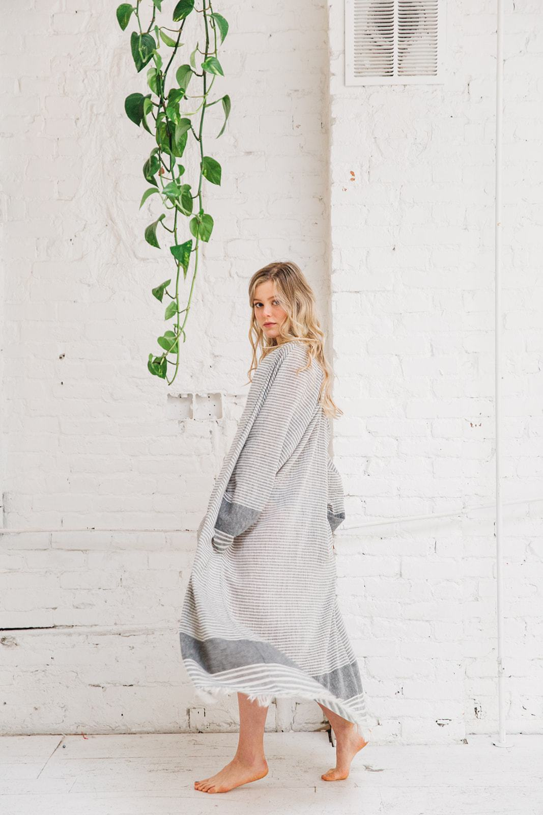 Tofino Towel Serene Beach Robe Grey Stripe