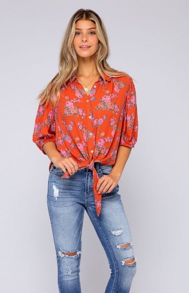 Free People Floral Tie Front Blouse