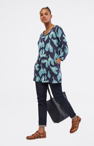 White Stuff Nilly Notch Tunic Ink Navy Print