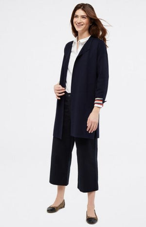White Stuff Studio Longline Cardi Navy Stripe