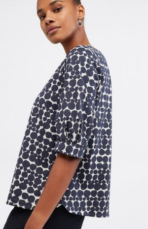 White Stuff Tuck Sleeve Jersey Top Ink Navy Print