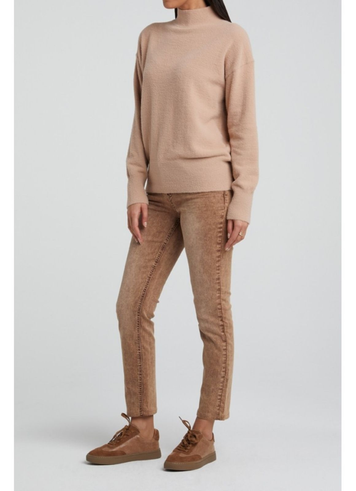 YAYA - Brushed High Neck Sweater Faded Pink