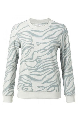 YAYA Women's Animal Print Sweatshirt Seagull Grey