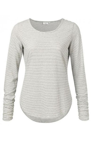 YAYA women's striped long sleeve top with ruching