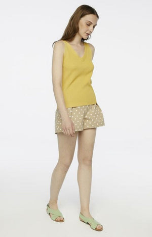 Compania Fantastica - Yellow Stretch Sleeveless Knit Top