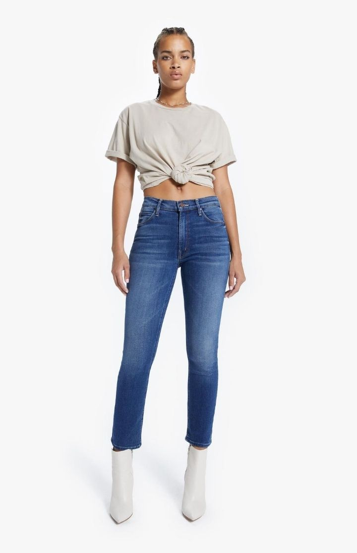 Mother Denim Mid Rise Dazzler Ankle Jean Sweet and Sassy