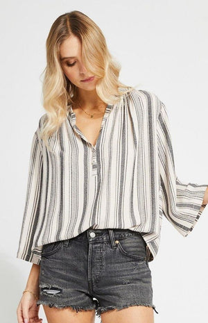 Gentle Fawn Striped Wide Sleeve Lindon Blouse