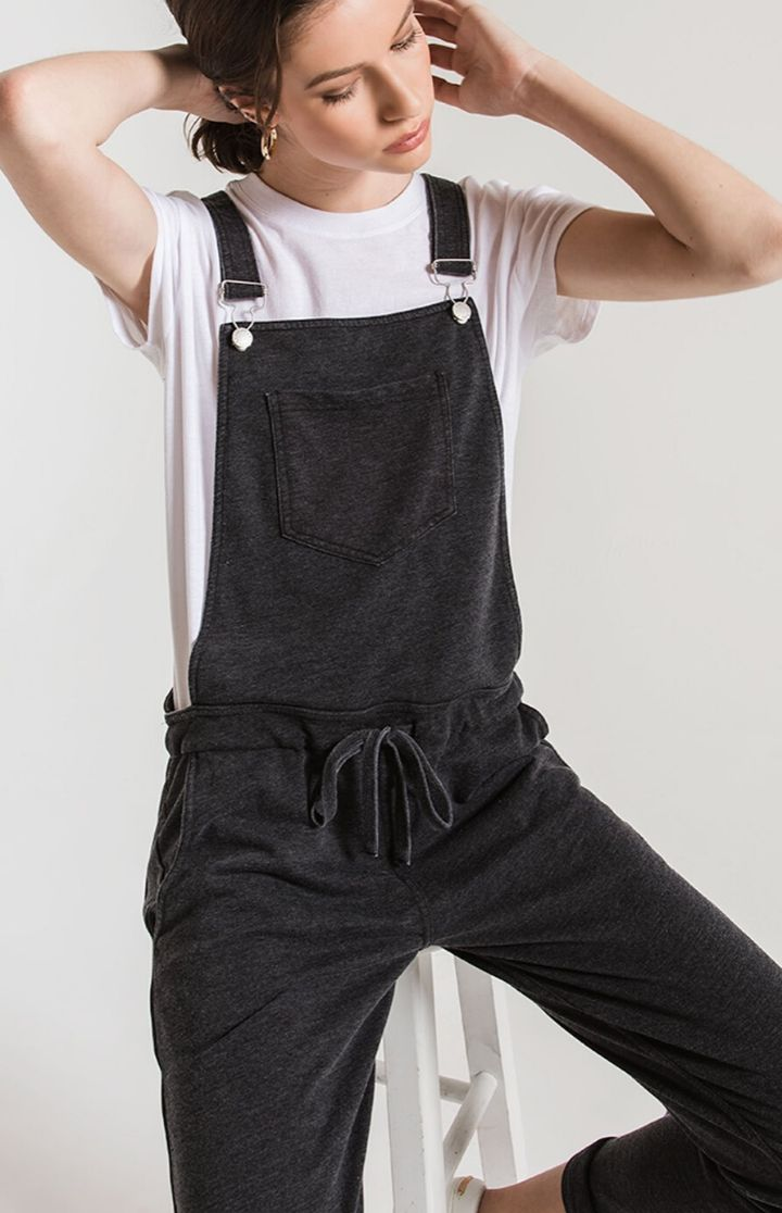 Z SUPPLY French Terry Overalls Black