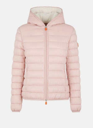 save the duck giga faux sheepskin hooded jacket blush pink