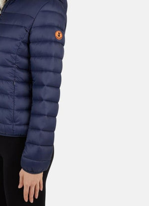 save the duck giga faux sheepskin hooded jacket navy