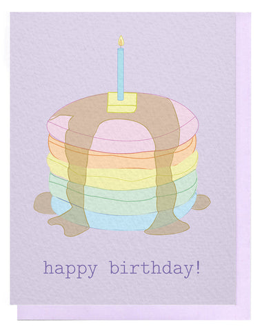 HBD Rainbow Pancake Stack Card
