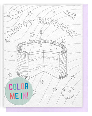 Birthday Cake in Space Coloring Card
