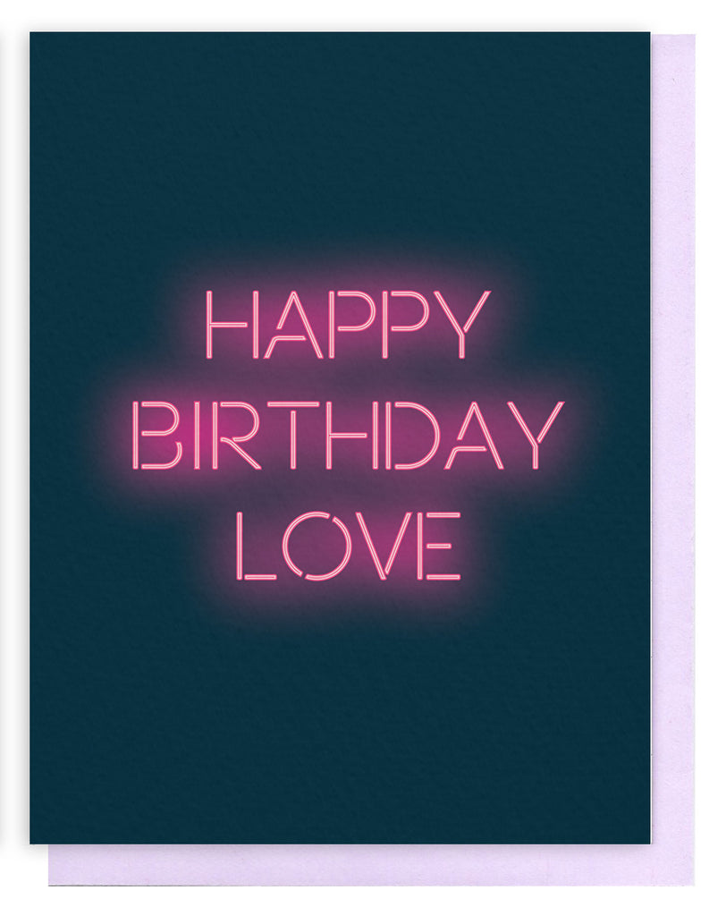 Happy birthday love neon card violet clair bookmarktalkfo Image collections