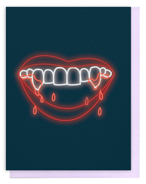 Neon Fangs Greeting Card