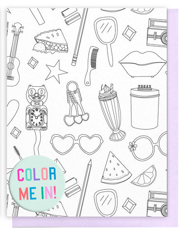 Favorite Things Pattern Coloring Card