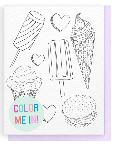Ice Cream Coloring Card