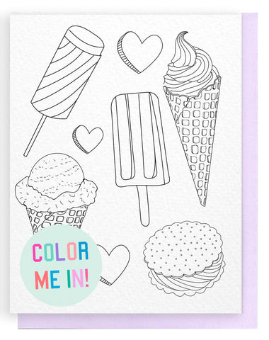 Ice Cream Luv Coloring Card