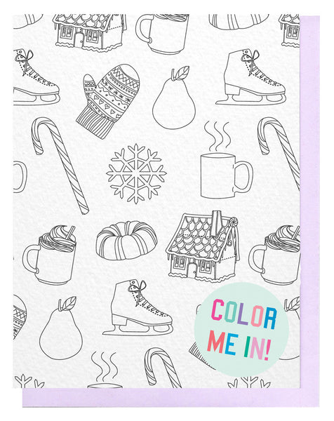 Holiday Pattern Coloring Card