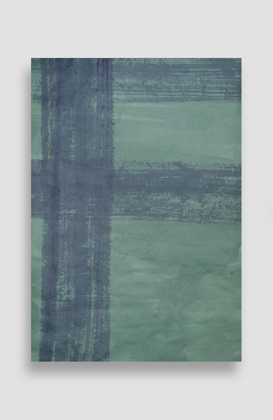 Emerald Painted Plaid - Acrylic Ink on Japanese Paper - 37 x 25