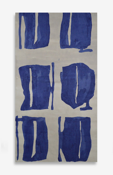 Ultramarine Fauves - Acrylic Ink on Japanese Paper - 34 x 19