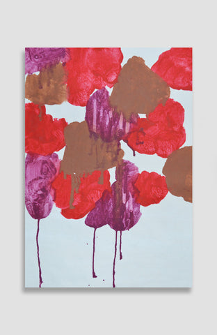 Custom Scarlet Floral Graffiti - Acrylic Ink on Japanese Paper - 25x17