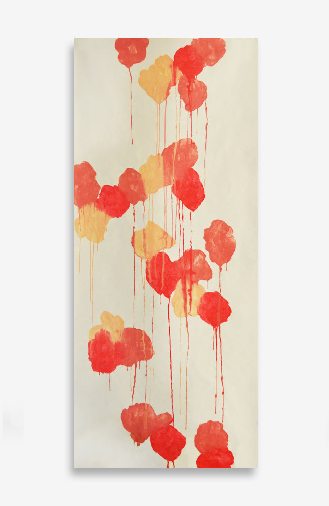 Custom Abricot Floral Graffiti Roll - Acrylic Ink on Japanese Paper - 7 foot roll