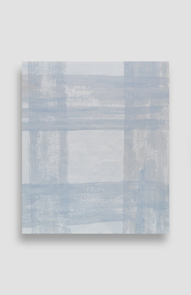Custom Pale Bleu Painted Plaid - Acrylic Ink on Japanese Paper - 29 x 25