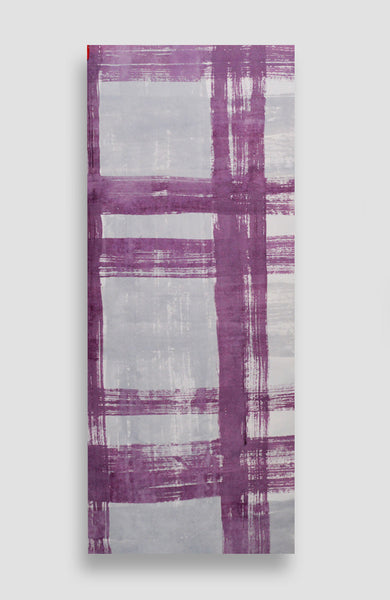 Custom Violet Painted Plaid - Acrylic Ink on Japanese Paper - 23 x 13