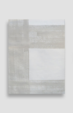 Pale Gris Painted Plaid - Acrylic Ink on Japanese Paper - 14 x 19