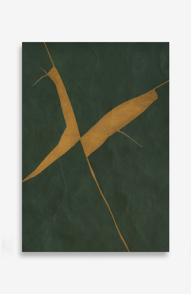 Emerald Kintsugi - Acrylic Ink on Japanese Paper - 14 x 10