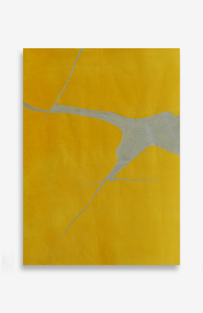Citron Kintsugi - Acrylic Ink on Japanese Paper - 14 x 10