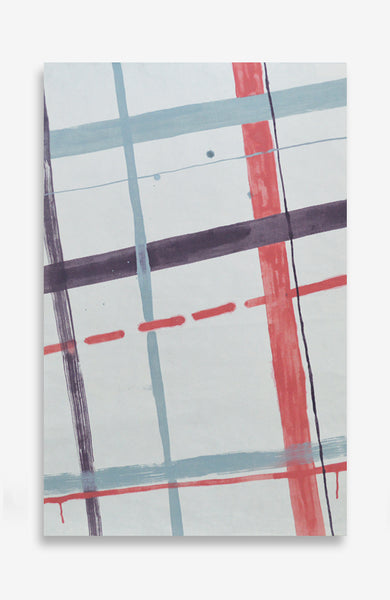 Painterly Plaid - Acrylic Ink on Japanese Paper - 37 x 23